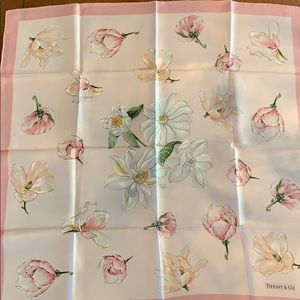 Tiffany and Co. Floral Print Silk Scarf